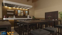 Cafe Interior Design Rendering by Rayvat Engineering