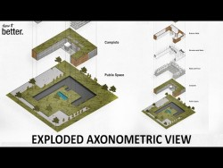 Exploded Axonometric View in Photoshop for Architecture