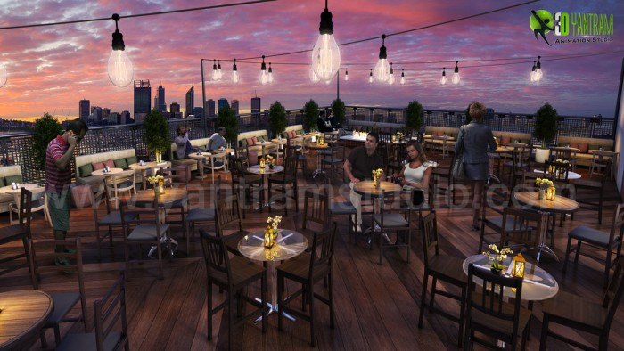 Rooftop Lounge 3D Rendering Evening View by Yantram architectural rendering service Rome, Italy