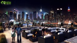 Roof top Design Ideas Evening Scene by Yantram 3d building drawing Toronto, Canada