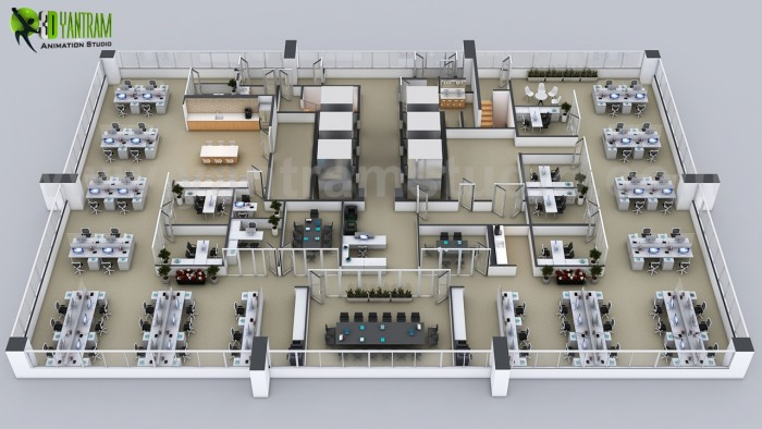 Creative 3D Floor Plans of the Sets for The Office by floor Plan design companies Chicago, USA
