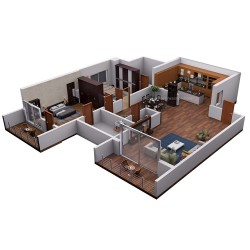 3D floor plan isometric view