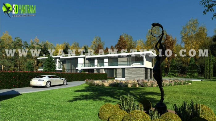 3d interior and exterior personal house design rendering