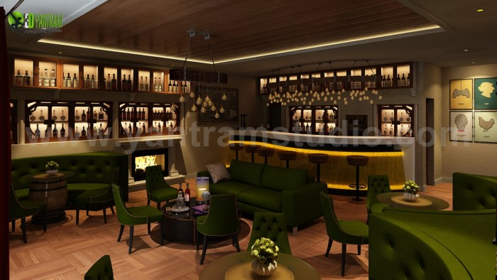 Bar & Restaurant interior design by Yantram 3D Interior Rendering Services – London, UK