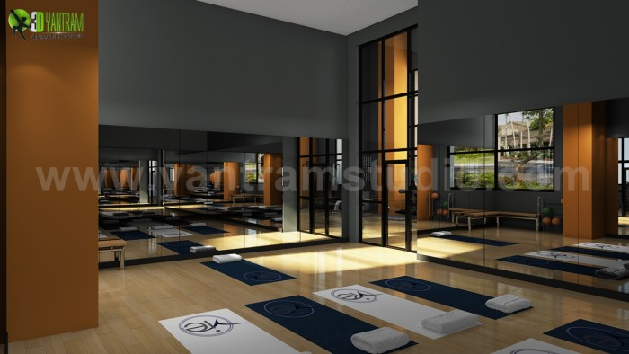 Group Fitness Gym Wood Floor Rendering Design Ideas by Yantram architectural studio Boston, USA