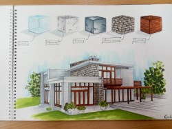 A sketch of residential house and materials that are used for exterior.