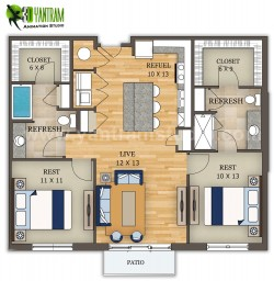 2D Floor Plan Furniture Design by Yantram Architectural Animation Companies, San Francisco &#821 ...