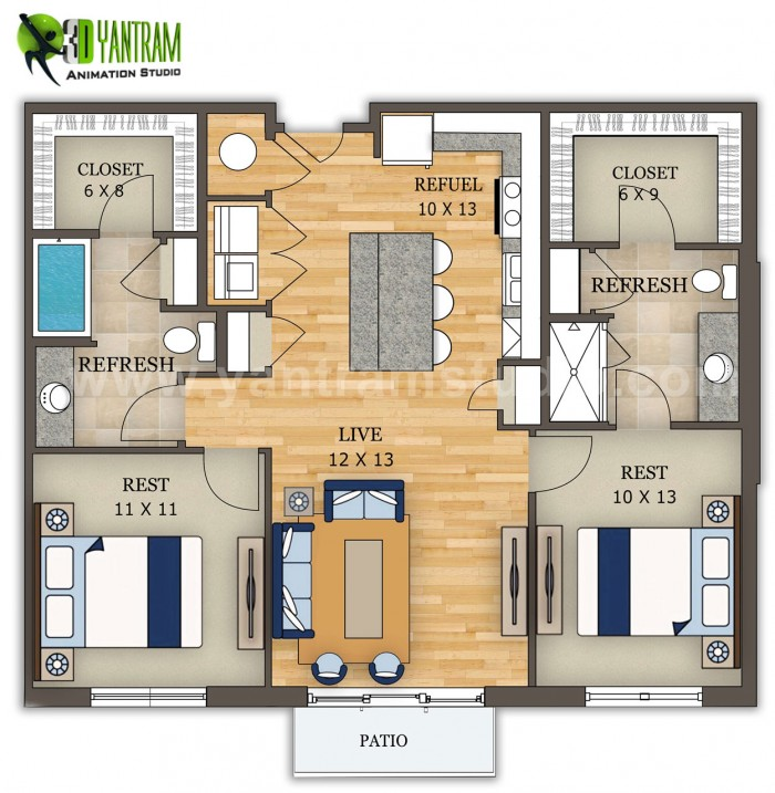 2D Floor Plan Furniture Design by Yantram Architectural Animation Companies, San Francisco ̵ ...