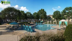 Modern 3D Exterior Pool View Rendering Services By Yantram Architectural Visualisation Studio, N ...