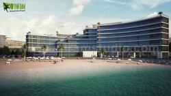 Modern 3D Exterior Beach Side Hotel View Design Services by Yantram Architectural Rendering Comp ...