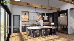 Interior 3D Kitchen Walkthrough Visualization developed by Yantram Architectural Modeling Firm,  ...