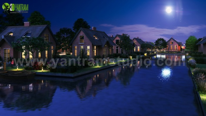 Romantic Night View of Waterside Villa 3D Architectural Visualisation By Yantram Architectural D ...