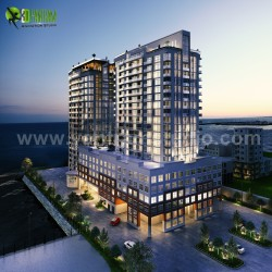 3D Exterior Rendering Of A New High-Rise Luxury Building Developed by Yantram Architectural Desi ...