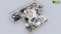 3D Virtual Floor Plan of Luxurious Villa Design by Yantram Architectural Modeling Firm, New York ...