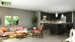 Open Concept Kitchen Living Room 3D Interior Modeling Design Ideas Developed By Yantram Architec ...