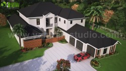Modern 3D Exterior Rendering (top view) with brown metal roof House by Yantram Architectural Stu ...