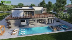 3D Exterior Walkthrough Home Design with Pool Side Evening view by Architectural Visualisation S ...
