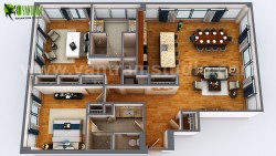 3D Floor Plan Rendering Apartment Design Ideas by Yantram 3D Architectural design studio, Dubai  ...