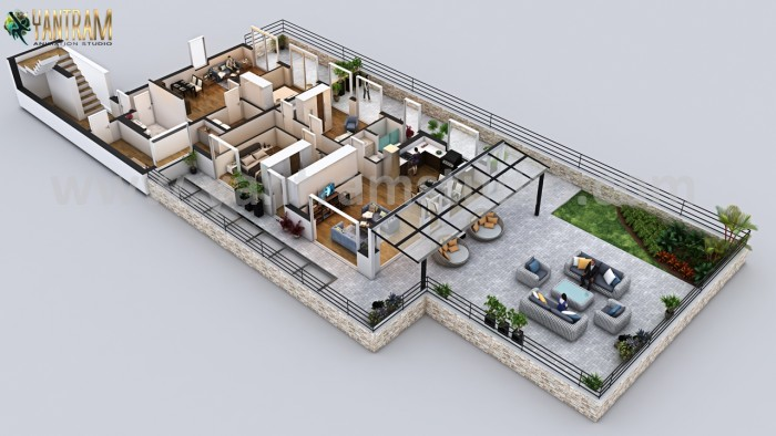 Luxury Penthouse 3D Home Floor Plan Design by Yantram 3D Architectural Visualisation, Dublin – I ...
