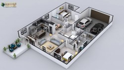 Virtual Floor Plan for 3D Contemporary Residential Home with Garage Slot by 3d architectural des ...