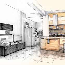 Millwork Drawing of Kitchen Interior