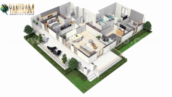 Modern House 3D Virtual Floor Plan design with unique landscaping ideas by Yantram 3D Architectu ...