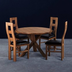 Round Kitchen Dining Table Constructed from Wood