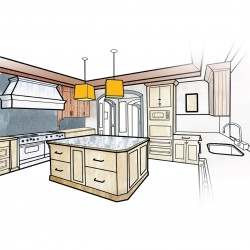 Kitchen Furniture Interior Drawing