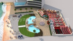 Unique Game Zone with Beach side Swimming Pool 3D Floor Plan Rendering Service by 3D Architectur ...