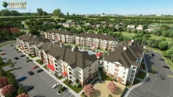 Aerial View Residential Landscape Community of 3D Architectural Visualisation by Architectural D ...