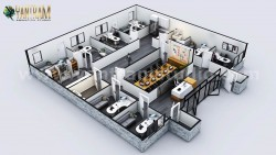 3D Commercial Office Floor Plan Design Companies with Classic interior by Architectural Modeling ...