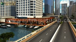 360 Panoramic Water side Restaurant Exterior & Interior View of Virtual Reality Real Estate  ...