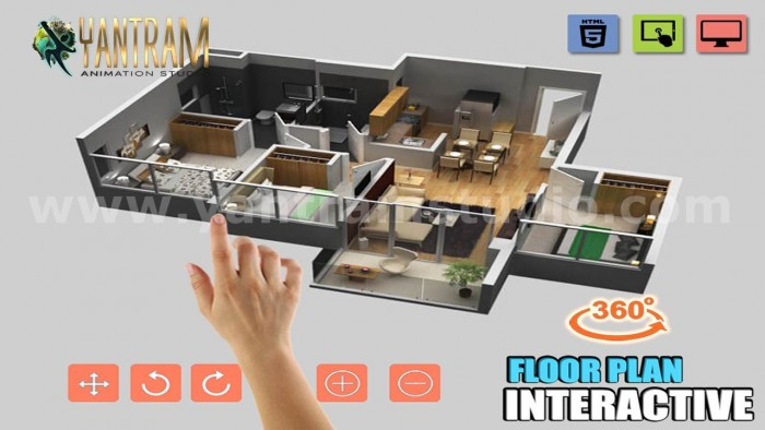 Extraordinary Interactive Residential house 3D virtual floor Plan design by 3D Animation Studio, ...