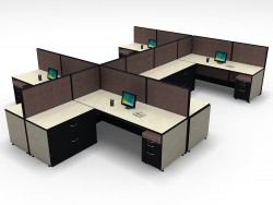 Wooden office cubicle for 6 persons