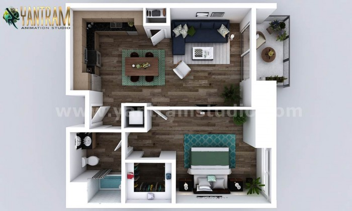 Small New Style One Bedroom Apartment floor plan design company by 3D Animation Studio