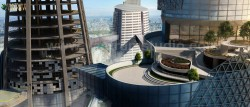 Contemporary Sky Scene Exterior Architectural Rendering High-Rise landscaping View by 3D Archite ...
