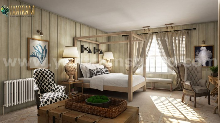 Luxurious Master Bedroom Design Concept with Interior Rendering Services by Yantram Architectura ...