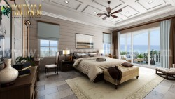 Contemporary Master Bedroom with Species Balcony 3d interior rendering services by architectural ...